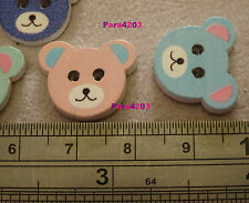 10 X WOODEN BUTTONS/EMBELLISHMENTS - TEDDY HEADS - CARDMAKING/SCRAPBOOKING - *UK