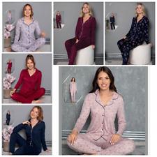 Damen Pyjama Schlafanzug Lang Viskose mit Knöpfen 2 Teiler S-80