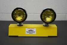 "5"" Round Amber Fog Lights Vintage Yellow Pair Chrome"