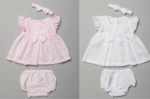 Baby Girls Spanish Romany Bow Dress & Pants Set Pink White Broderie Anglaise