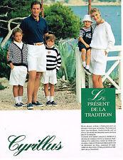 PUBLICITE ADVERTISING 074  1990   CYRILLUS  mode  marine enfants