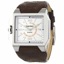 Diesel DZ1267 MensSilver Dial Brown Leather Strap Watch NO RETAIL BOX OR BOOK