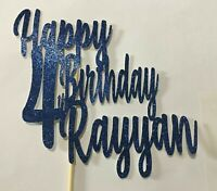 Personalised 4th Happy Birthday Cake Topper Blue Glitter Any Name Any Age