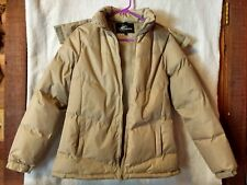 KC Collections Women's Small Puffy Car Coat Removable Hood Beige Zip Front  Exc