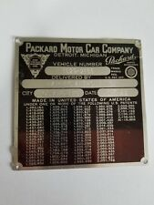 SERIAL TAG  - PACKARD MOTOR CAR CO, WITH DELIVERY INFORMATION, with Patents