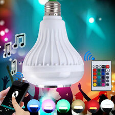 Bluetooth E27 LED Bulb Light 12W RGB Music Playing Lamp Remote Wireless Speaker
