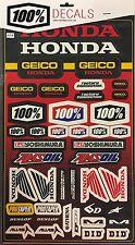 100% Geico Honda Racing Motocross Stickers Decals