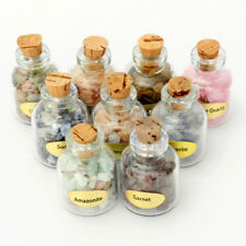9 Mini Gemstone Bottles Chip Crystal Healing Tumbled Gem Stones Reiki Set