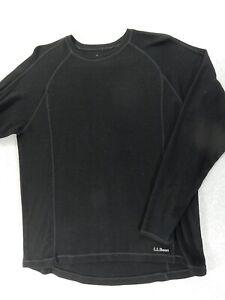 LL Bean Midweight 100% Merino Wool Crew Shirt (Mens XL) Black