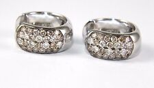 Fine Round Fancy Color Pave Diamond Huggie Hoop Earrings 14K White Gold 1.35Ct