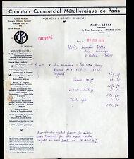 """PARIS (XVII°) COMPTOIR COMMERCIAL METALLURGIQUE DE PARIS """"André LEBAS"""" en 1935"""
