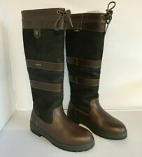 Dubarry Galway Knee High Boots UK 4 EU 37 Brown Leather Tie Top Casual 281752