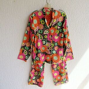 Vera Bradley Pajamas Matching L Top Pants Vibrant Colorful Lightweight