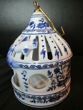 """Blue Onion Design Hanging Porcelain Bird Cage 8 1/2"""" Tall"""