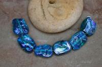 Aqua Iris Tabs -  Handmade Glass Lampwork Tab Beads SRA ooak