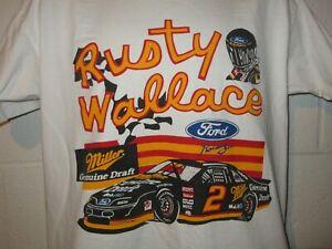 Vintage 90s Nascar Rusty Wallace Miller MGD T-Shirt M/L