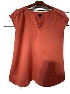 Womens Ann Taylor Coral Silky Blouse Size L