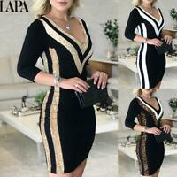 LAPA Women's Bodycon Dress Ladies Slim Elegant Party Long Sleeve Formal Bodysuit