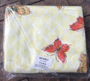 Shabby Chic Yellow  Butterflies Blanket Vintage NIP Twin Size