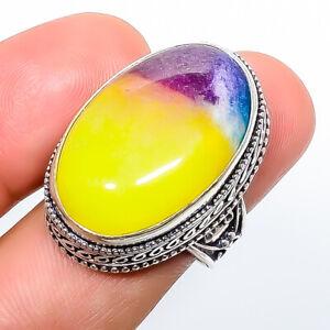 Rainbow Quartz 925 Sterling Silver Fine Art Ring s.8 R3051-309
