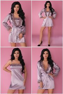 LIVCO CORSETTI Jacqueline Luxury Satin Dressing Gown, Chemise and G-String Set
