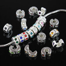 50 Pieces Randomly Mixed Czech Crystal European Charm Beads Locks Clips Stoppers