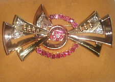14K YELLOW & ROSE GOLD ANTIQUE RUBY & DIAMOND BROOCH / PIN - VINTAGE BEAUTY!