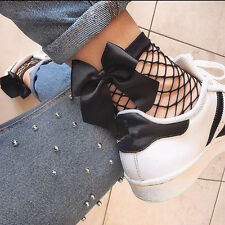Summer Woman Ruffle Fishnet Ankle High Mesh Lace Fish Net Short Socks with Bow