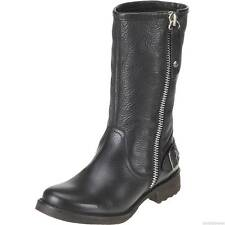 Ladies Black Leather Wide Harley Davidson  Biker Boots Baisley