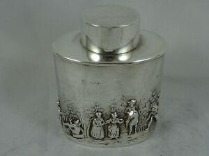 SUPERB, EDWARDIAN silver TEA CADDY, 1903, 83gm