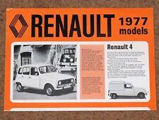 1977 RENAULT RANGE Sales Brochure - R4 R5 R6 R12 R14 R15 R16 R17 R20 R30 - VGC