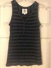 Merona Sleeveless Black/Charcoal Striped V-neck Pullover - Small