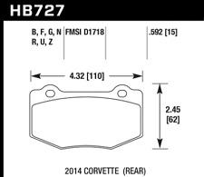 Hawk Disc Brake Pad Rear for 2014 Chevrolet Corvette / HB727G.592