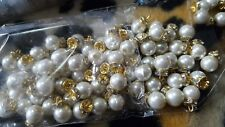 60 × Wholesale pack Ivory & gold pearls round buttons for designer outfits