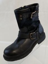 Bronx Ankle Boots Womens Black Leather Buckle Zip Faux Fur Shoes Sz EU 36 US 5.5