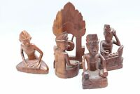 Balinese Bali Wood Carved Folk Art Figures Musicians Indian Headdress Lot