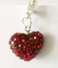 SPARKLY SHAMBALLA DARK RED CRYSTAL 15mm HEART CLIP ON CHARM- JANUARY BIRTHSTONE