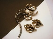 Sterling Silver Brooch Flower Married Earrings Vintage