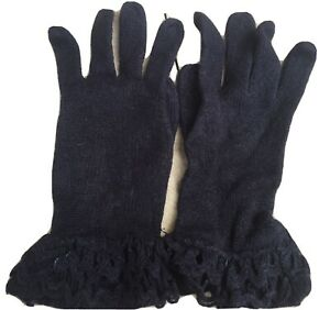 Ladies Black Gloves with Decorated Cuffs