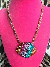 Betsey Johnson The Eyes Have It HUGE Rainbow Crystal Striped Lips Mouth Necklace
