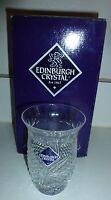 "1940s EDINBURGH CRYSTAL Engraved 4"" Vase / Tumbler Diamond Cut - in Box"