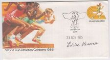 Stamp 1985 World Cup Athletics PSE CASTERTON Gift Victoria signed Eddie Heaver