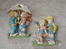 VTG 1977 HOMCO BOY AND GIRL WALL PLAQUE SET CHILD'S ROOM DART INC MADE IN USA