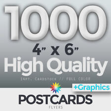 """1000 Full Color 4""""x6"""" POSTCARDS/FLYERS - BOTH SIDES - FREE DESIGN & SHIPPING"""