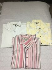 3 Men's L Authentic Tommy Bahama Button 100% Silk Casual Shirts