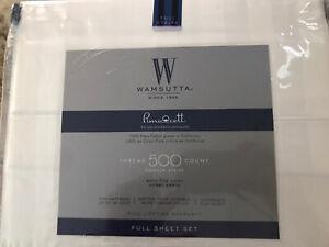 Wamsutta Pima Cotton 500TC Damask Stripe Full Sheet Set Sateen White New