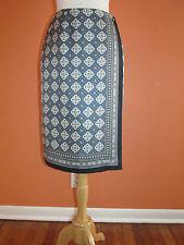 Talbots Size 4 Blue+Gray+White Scarf Print Silk Wrap Medallion Skirt