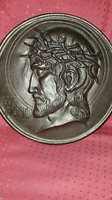 Art Deco Metall Relief Gussbild ECCE HOMO Jesus Christus mit Dornenkrone ⌀ 25 cm
