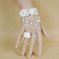 Pearls White Rose Charm Bracelet Chain Wedding Bridal Jewelry Accessories