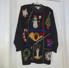Vtg Victoria Jones Old Stock Tag Sparkle Beaded Ugly Christmas Sweater L